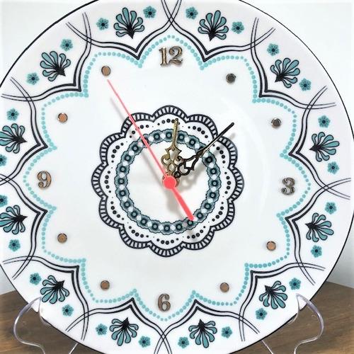 relógio mandala de porcelana, 28,5cm