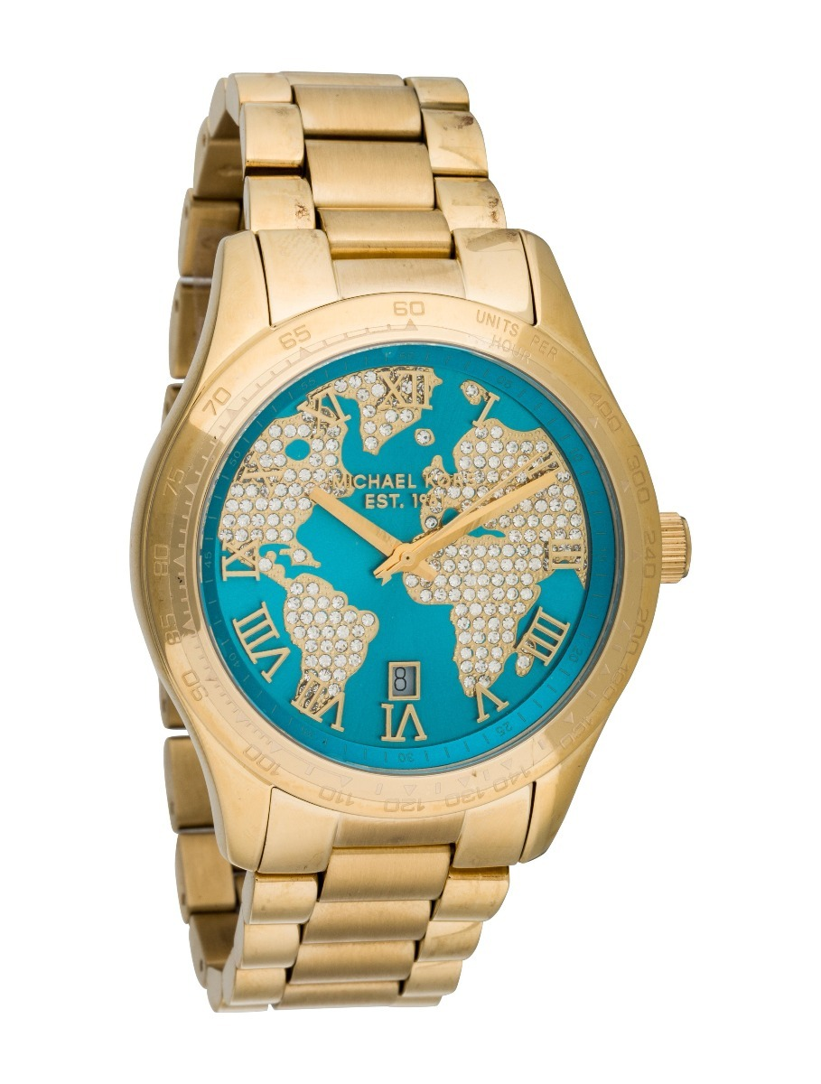 990a60c35c9 relógio mapa michael kors mk6375 dourado c  azul claro. Carregando zoom.