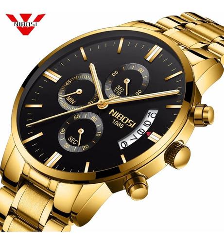 relógio marculino nibosi de luxo promoção frete grátis