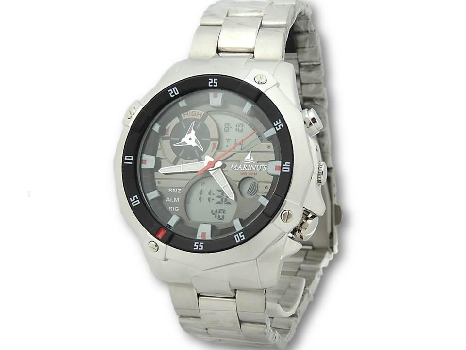 bd00d135267 Relógio Marinus A3299 Masculino Prata Dual Time Com Luz - R  84