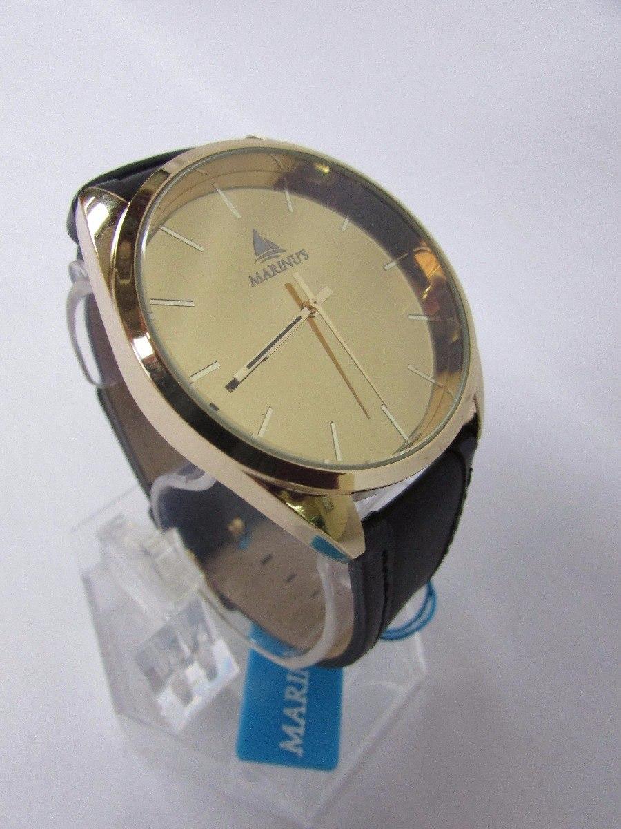 1ad6ac48256 Relógio Marinus Pulseira Couro Fundo Dourado Social - R  1.189