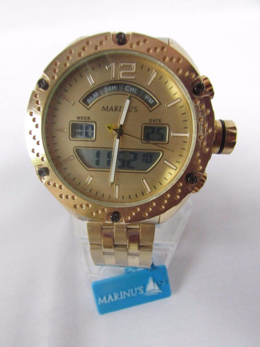 ecbb486f255 Relógio Marinus Social Esporte Dourado Nf Frete Gratis - R  1.130