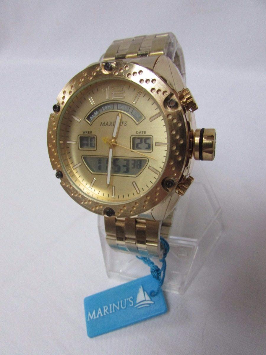 a5e686a1e56 Relógio Marinus Social Esporte Dourado Nf Frete Gratis - R  1.120