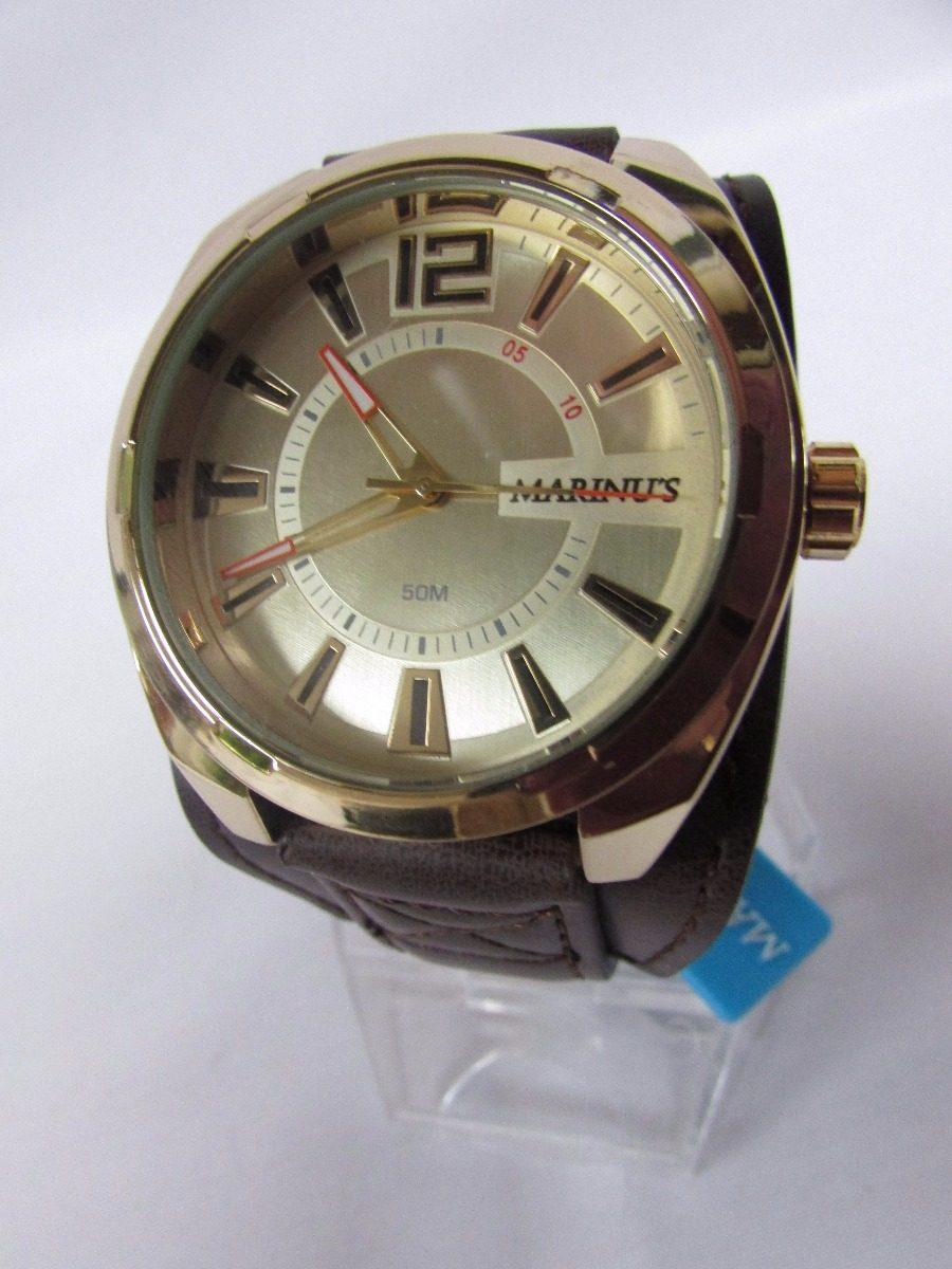 56874f075a7 Relógio Marinus Social Pulseira Couro Dourado Nf E Imediata - R ...