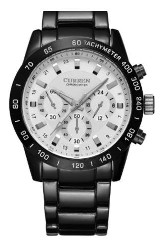 relógio masc pulseira couro ecológico preto com visor branco