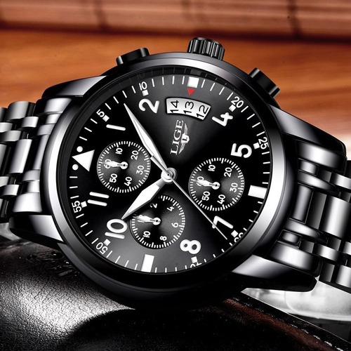 relógio masculino 9825 original aço luxo cronometro brinde