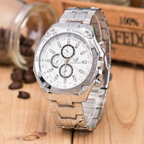 relógio masculino aço clássico estiloso luxo
