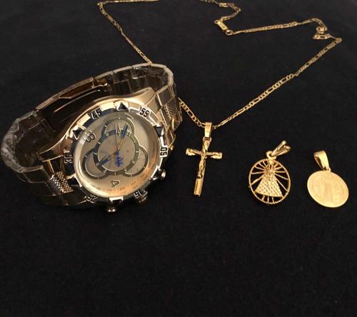 relógio masculino aço+ corrente 60cm+ 3 pingentes banhado