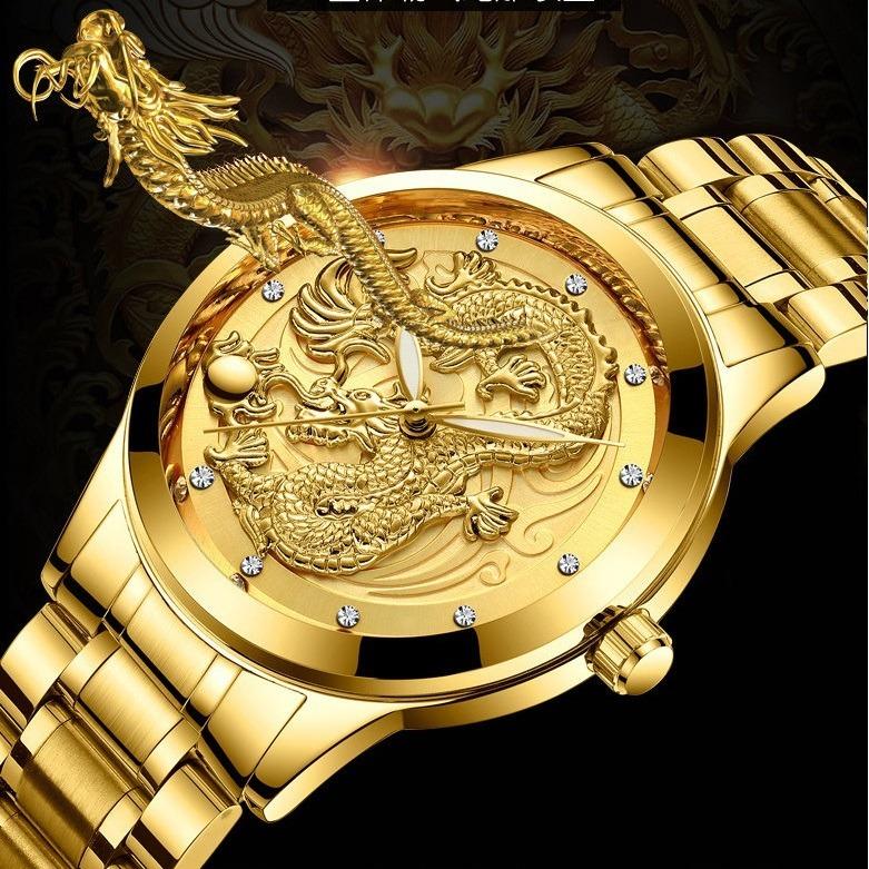 cc4df127034 Relógio Masculino Aço Dourado Dragão Tipo 3d Super Oferta - R  99
