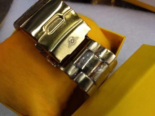 relógio masculino aço dourado fosco pesado grande promoção