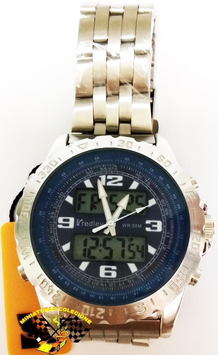 8b464b8c946 relógio masculino aço fundo azul luxo grande redley lindo. Carregando zoom.