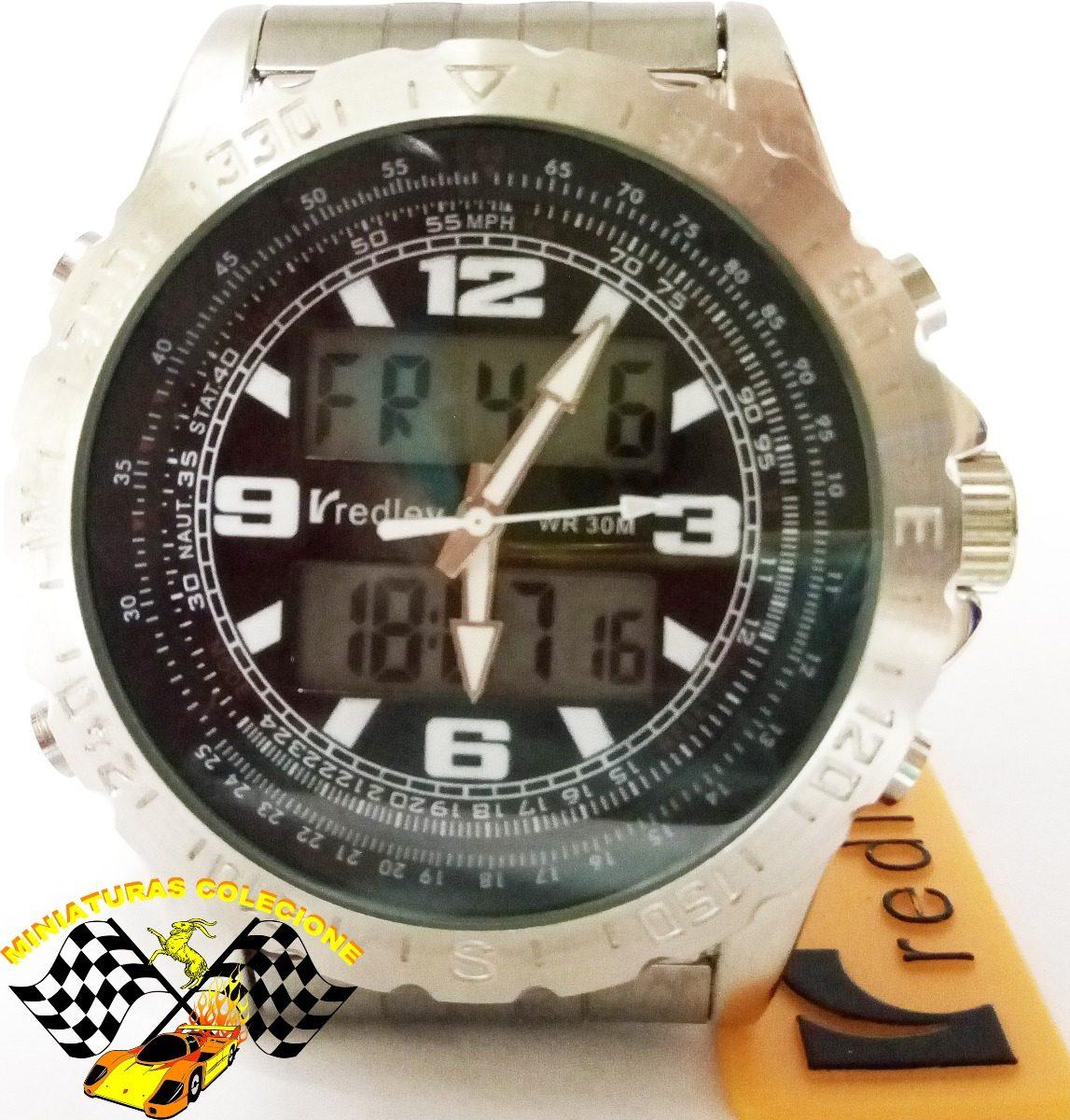 b122a494c96 relógio masculino aço fundo preto luxo grande redley lindo. Carregando zoom.
