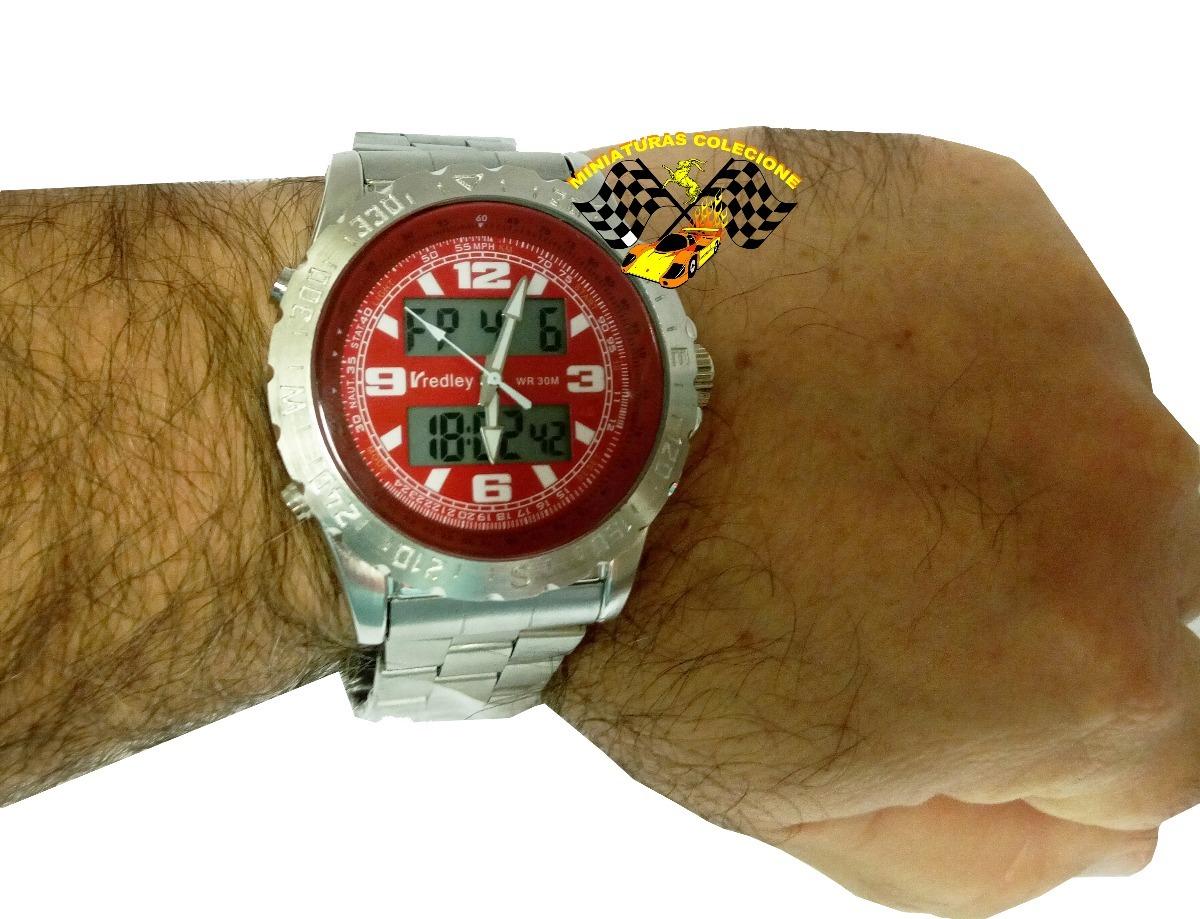 f4a22d79e97 relógio masculino aço fundo vermel luxo grande redley lindo. Carregando  zoom.