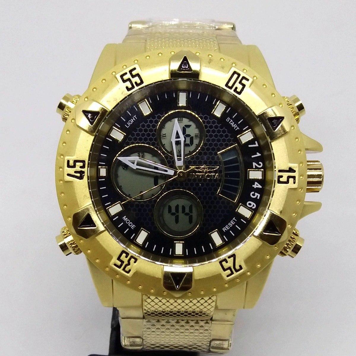 37f290d2853 relógio masculino aço inox dourado grande digital analógico. Carregando zoom .
