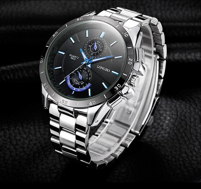 bd8025877c9 Relógio Masculino Aço Inox Quartz Longbo 8833 - R  75