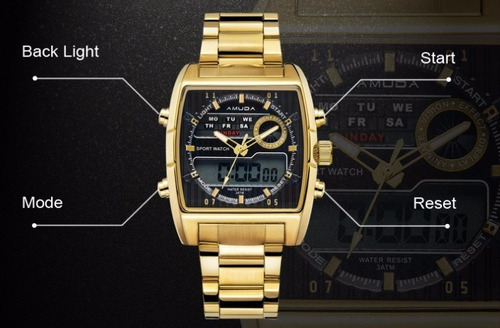 relógio masculino amuda dourado ouro luxo de aço