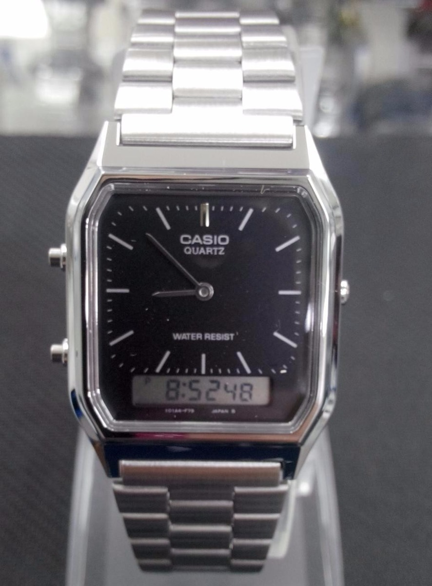 dcaf2b9b3b3 relógio masculino anadigi casio aq-230a prata original na cx. Carregando  zoom.