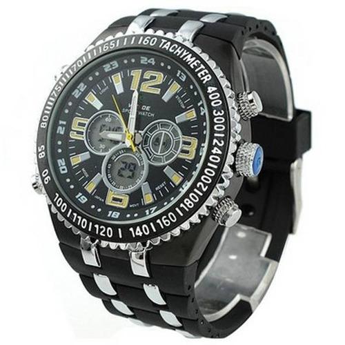relógio masculino anadigi casual weide wh-1107 preto e amare