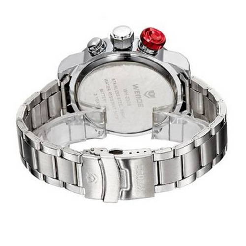 relógio masculino anadigi weide casual wh-2309 prata e preto