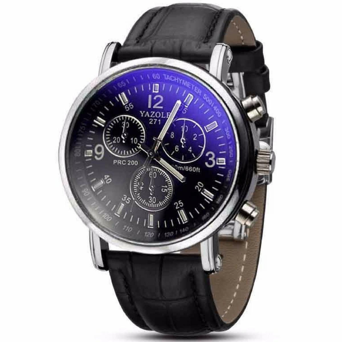 285c50807dc relógio masculino analógico de couro preto yazole 271. Carregando zoom.