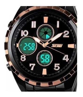 relógio masculino analógico e digital skmei 1021 original