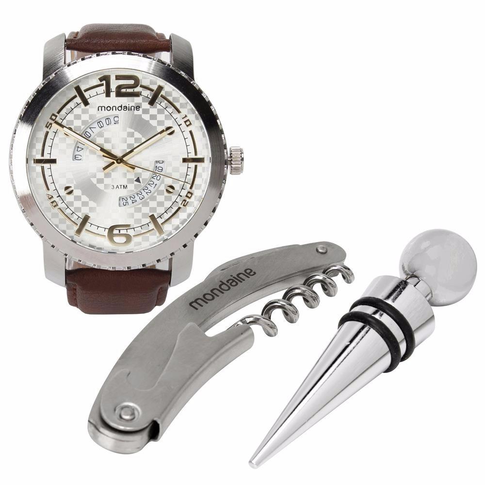 80249633bf7 relógio masculino analógico mondaine com kit vinho. Carregando zoom.
