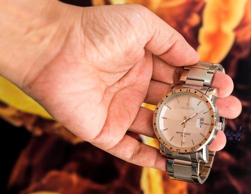 relógio masculino analógico pulseira metal
