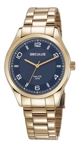 relógio masculino analógico seculus 28975gpsvda3