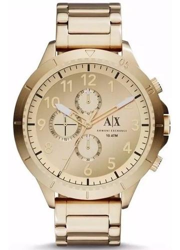 relógio masculino armani cronógrafo dourado ax1752/4dn aço