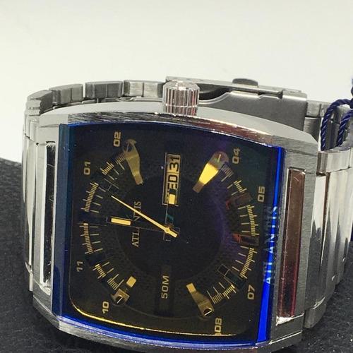 relógio masculino atlant original a3114 quadrado luxo mari