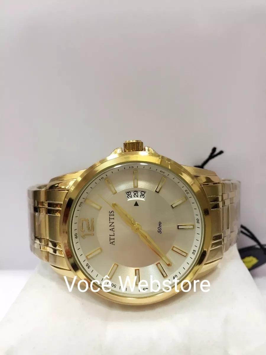 cb5f68e5911 Relógio Masculino Dourado Barato Social Aço Luxo Atlantis - R  77