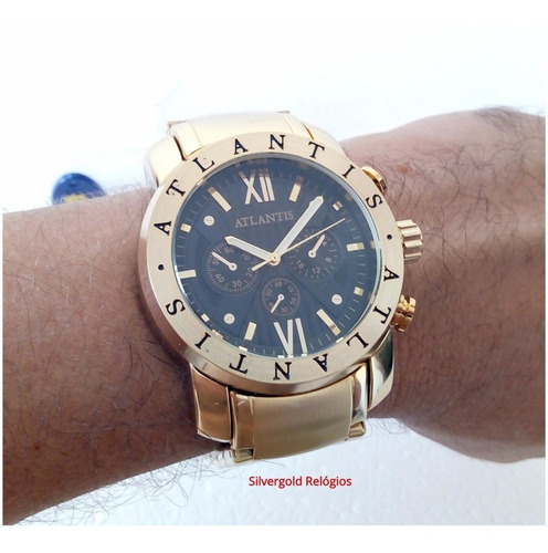 relógio masculino atlantis a3310 dourado orig estilo bulgari