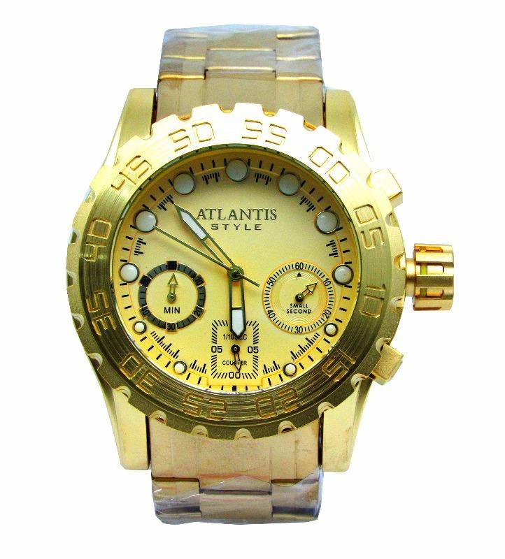 d1e25414e21 relogio masculino atlantis a3311 funcional fundo dourado. Carregando zoom.