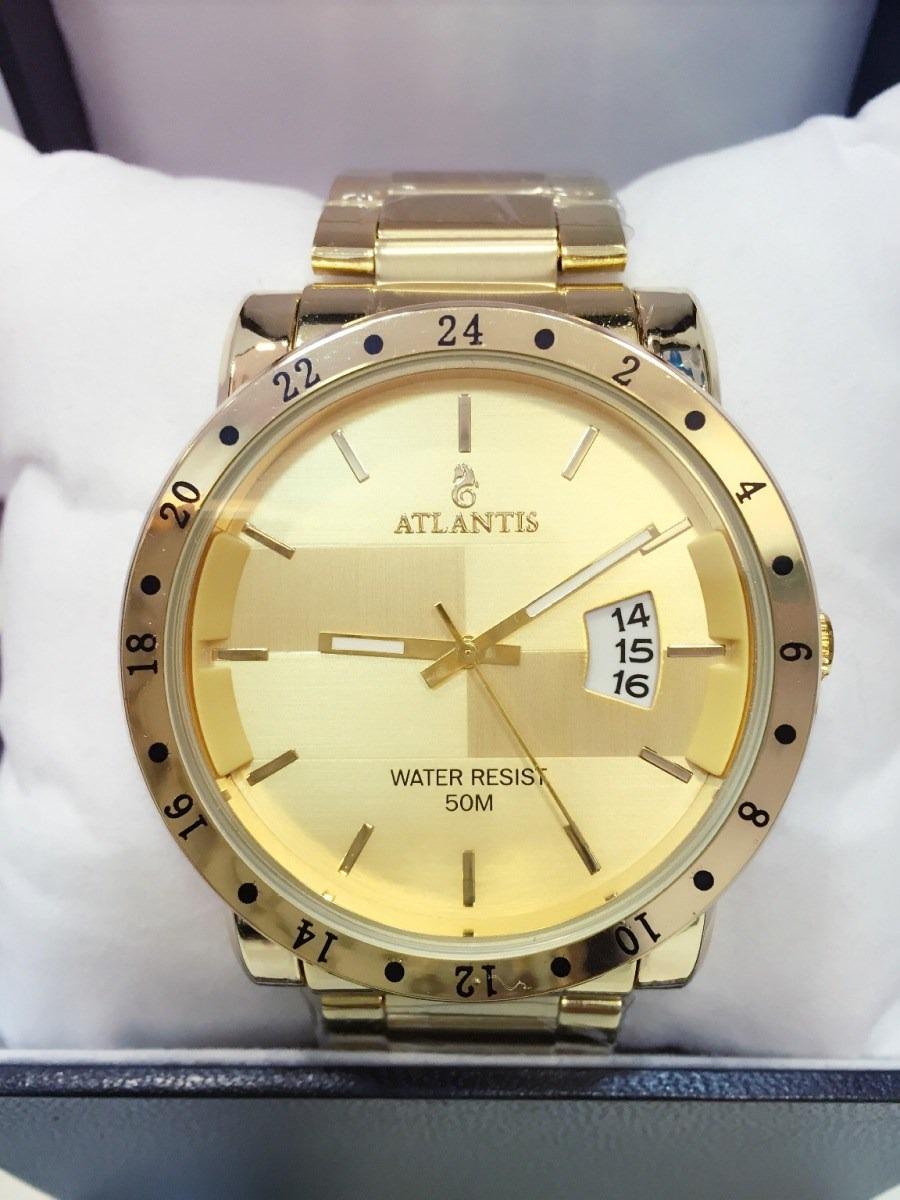 bc63bb4934f relógio masculino atlantis dourado 2 original com calendário. Carregando  zoom.