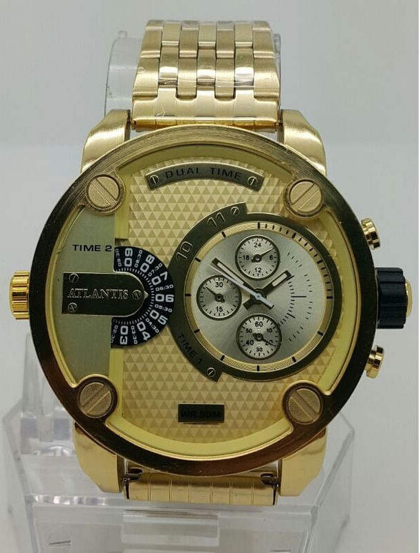 23013d07fe1 relógio masculino atlantis dourado caixa grande barato. Carregando zoom.