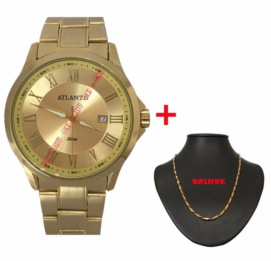 61dbbcdeeb4 relógio masculino atlantis dourado calendário com colar. Carregando zoom.
