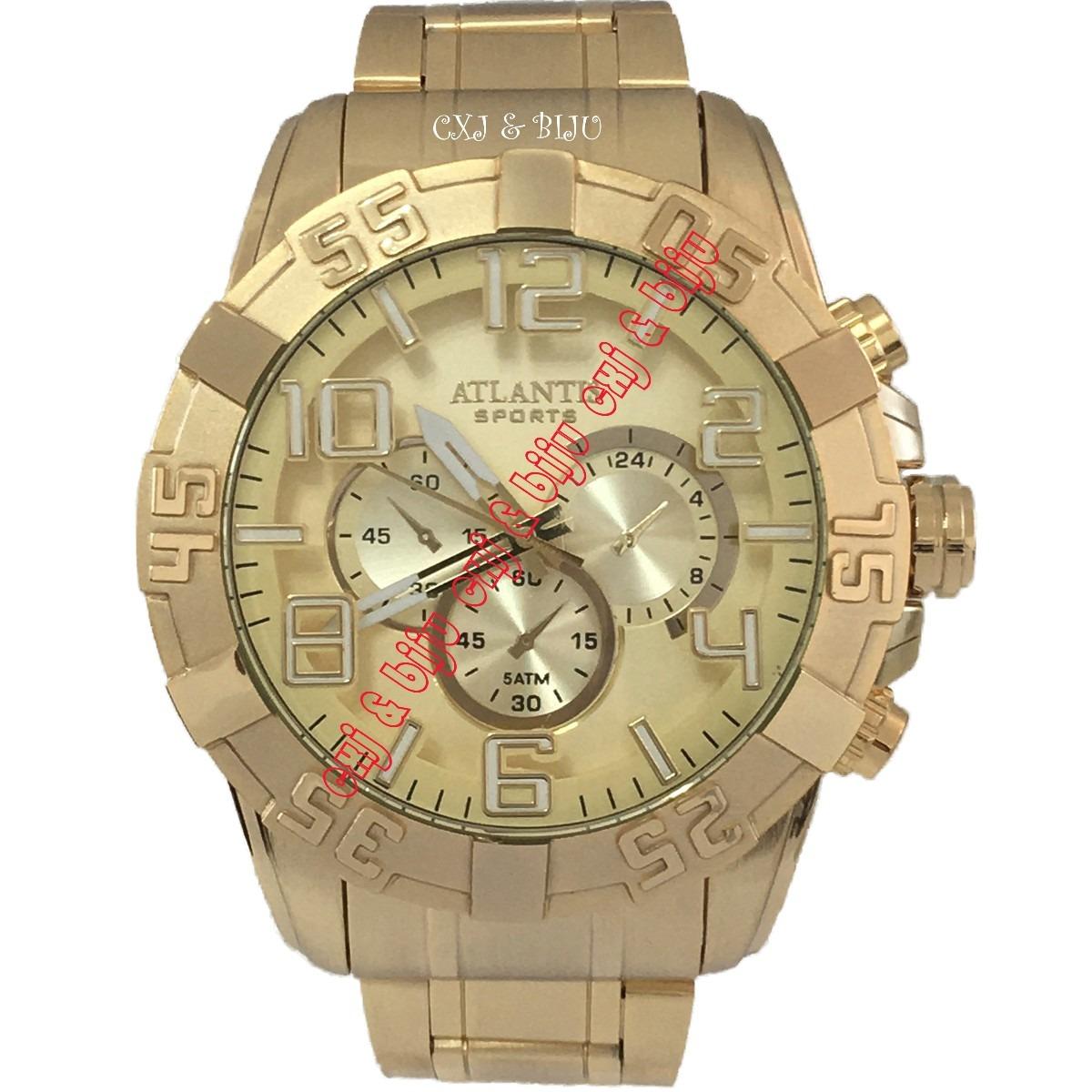 bf398a54729 relógio masculino atlantis dourado luxo pronta entrega. Carregando zoom.