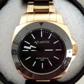 Relógio Masculino Atlantis Dourado Original