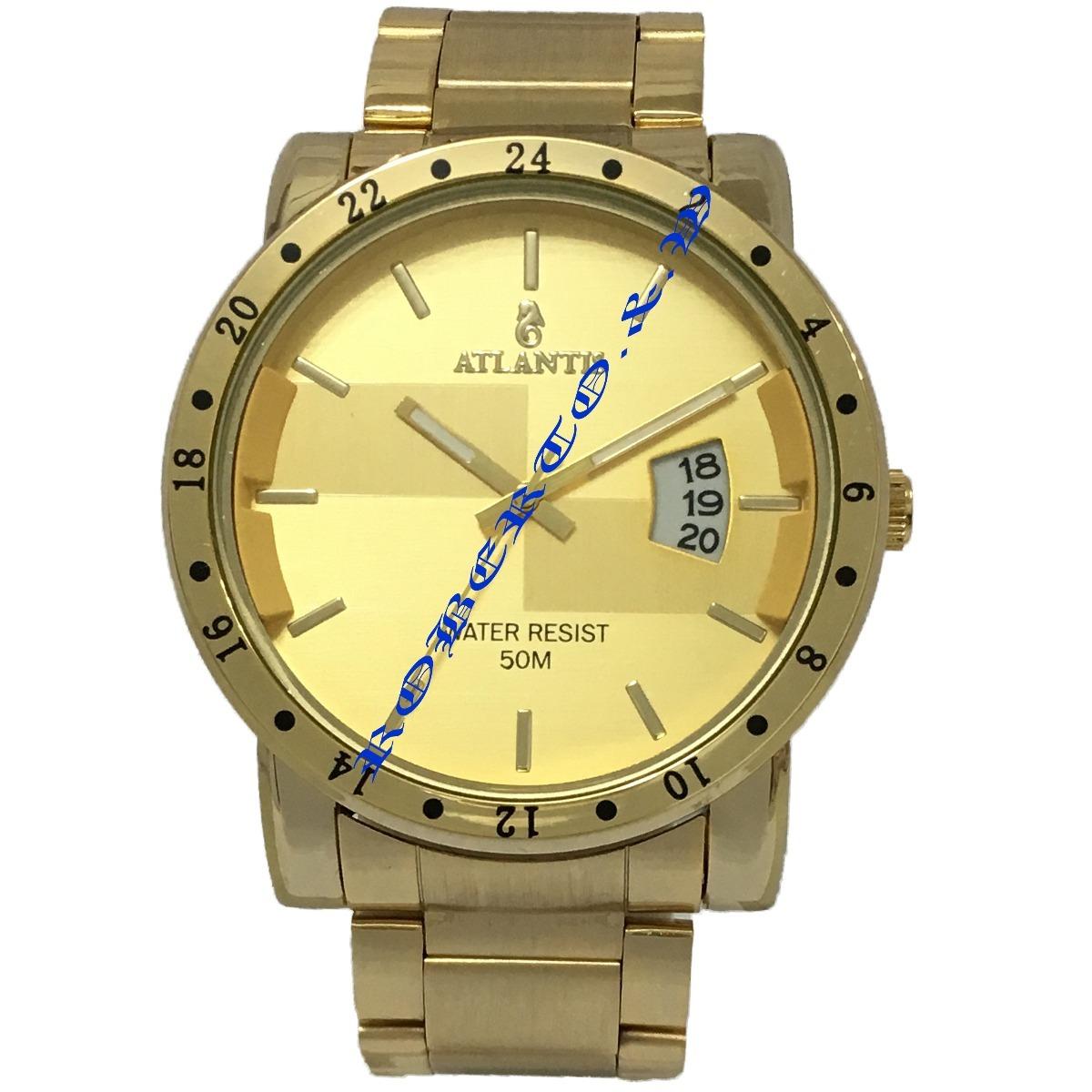 b6c84a712fd relógio masculino atlantis dourado original com calendário. Carregando zoom.