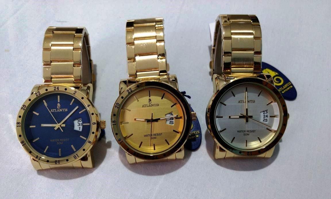 f7fd0f17ff2 Relógio Masculino Atlantis Dourado Original Com Calendário - R  74 ...