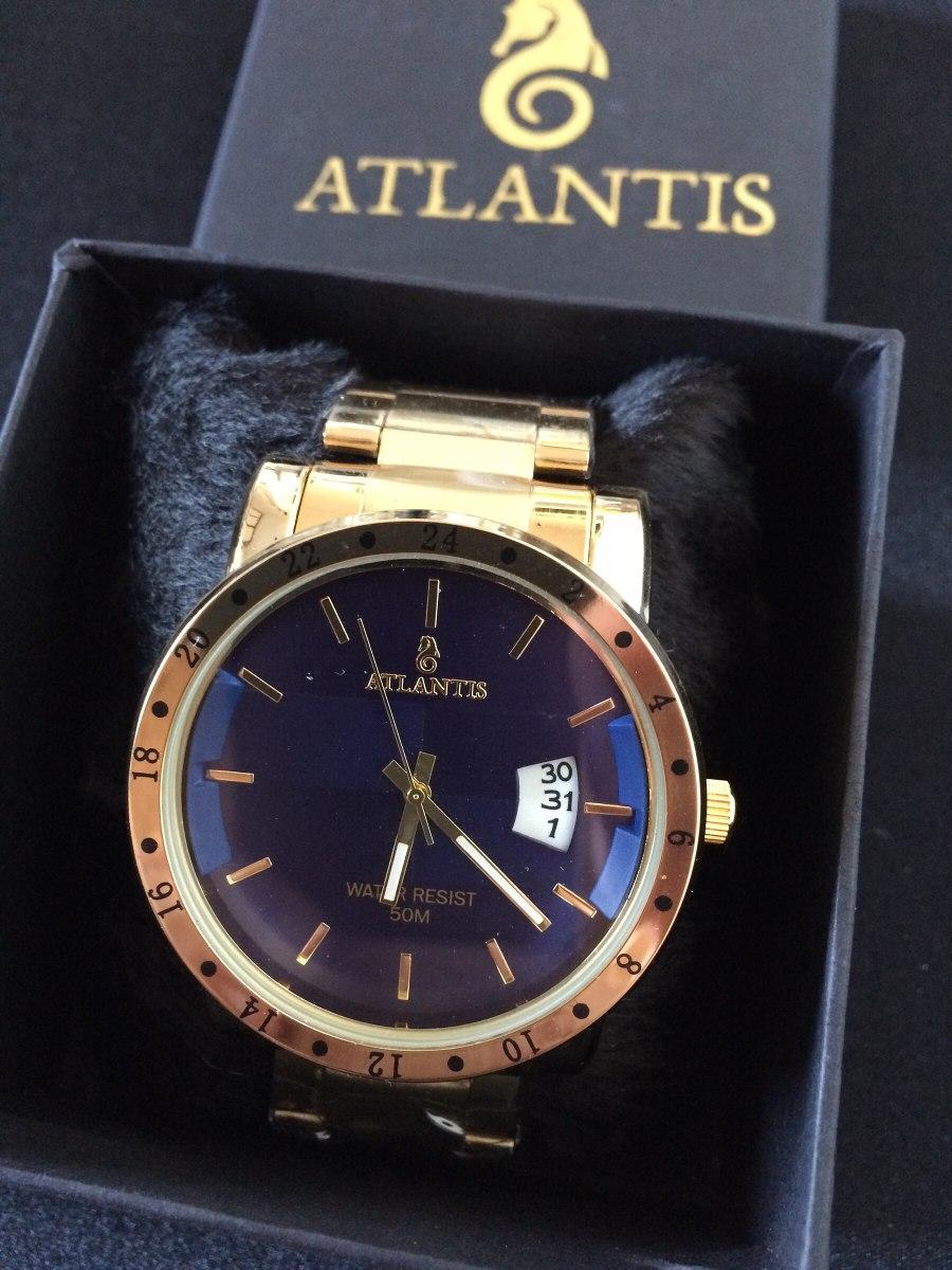 c558520b4d4 relógio masculino atlantis g3242 dourado azul calendário. Carregando zoom.