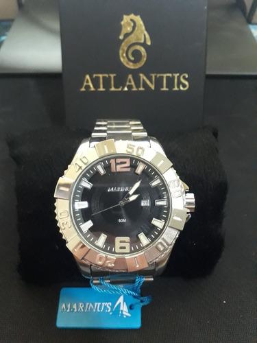 relogio masculino atlantis j3396 prata fundo preto