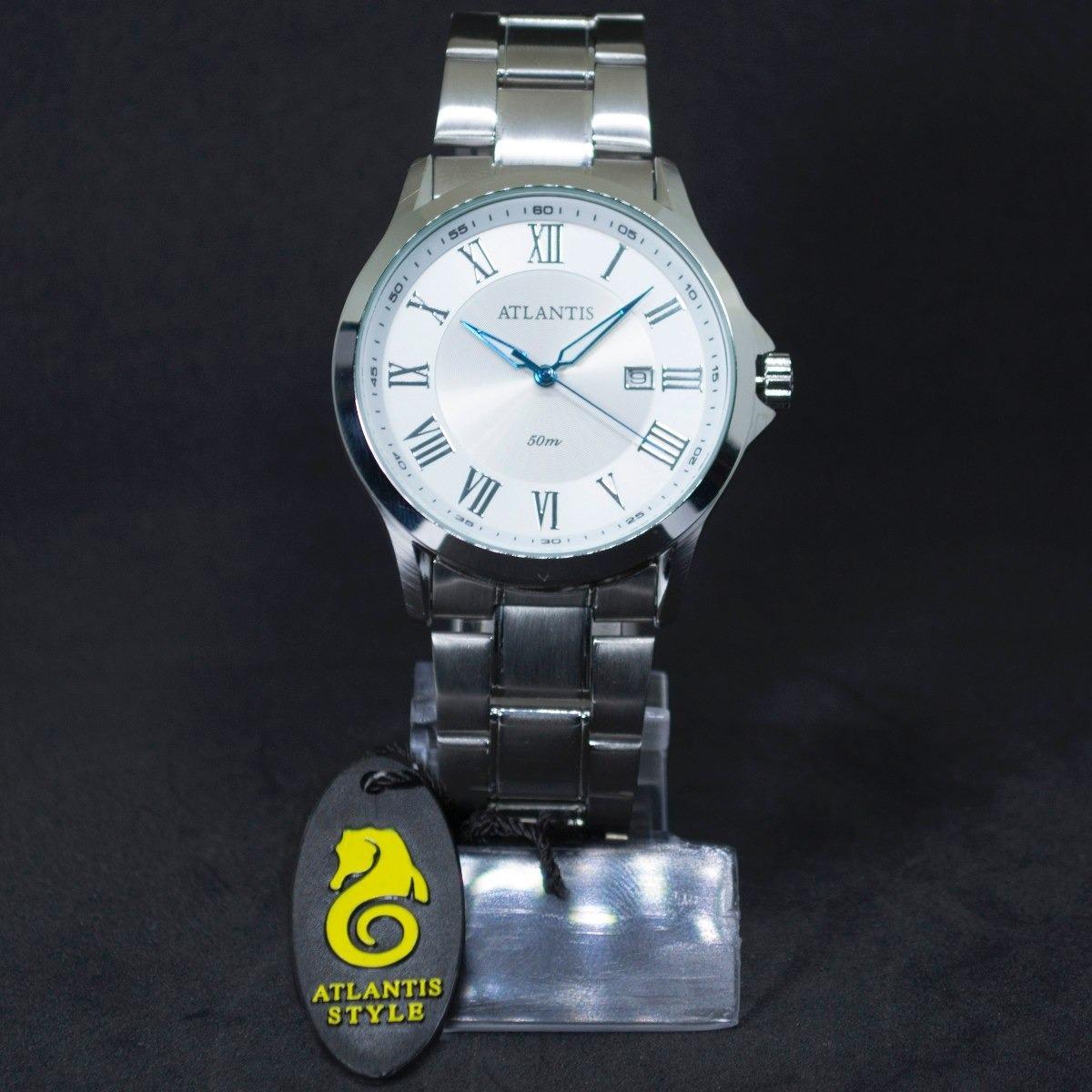 87bd4525a83 relógio masculino atlantis original algarismo romano prata. Carregando zoom.