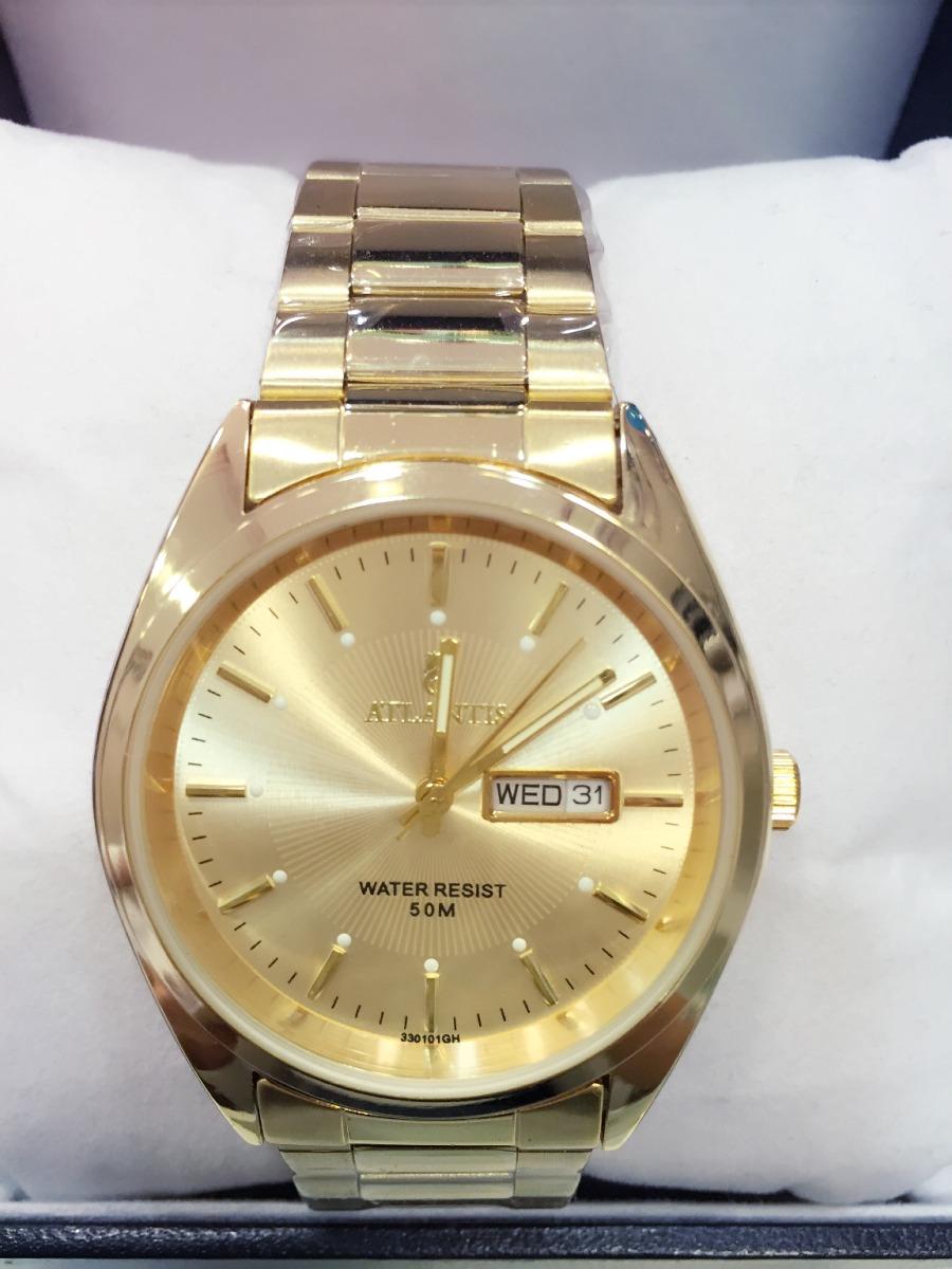 c630e78138f relógio masculino atlantis original dourado dois calendário. Carregando zoom .