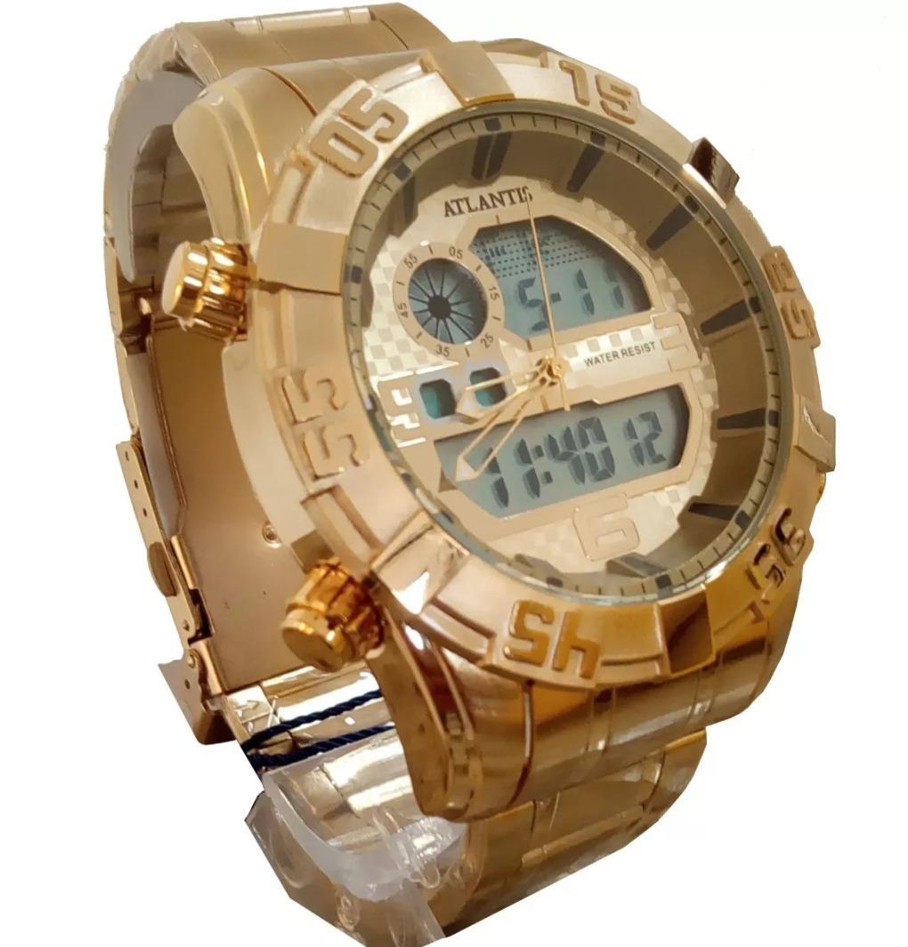 bd65f2d1a49 relógio masculino atlantis original dourado prova dágua. Carregando zoom.