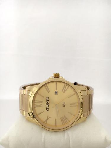 relógio masculino atlantis original romano social pulseira a