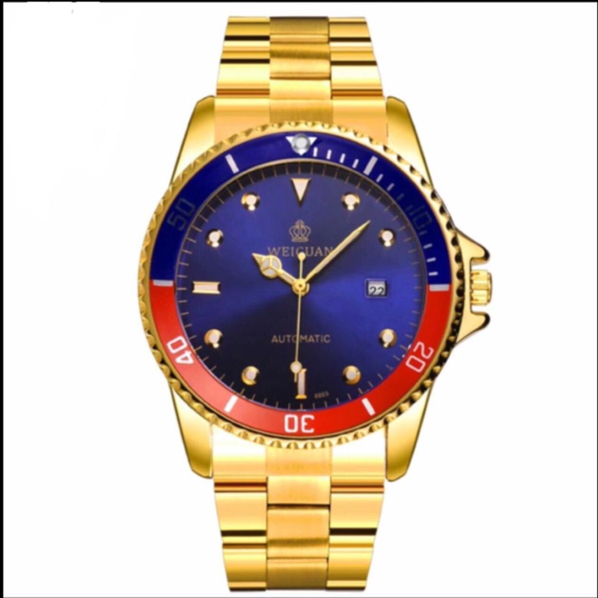 c408d92e30f relógio masculino automatico dourado fundo azul estilo rolex. Carregando  zoom.