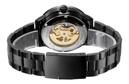 relógio masculino automático esqueleto vencedor em aço inox