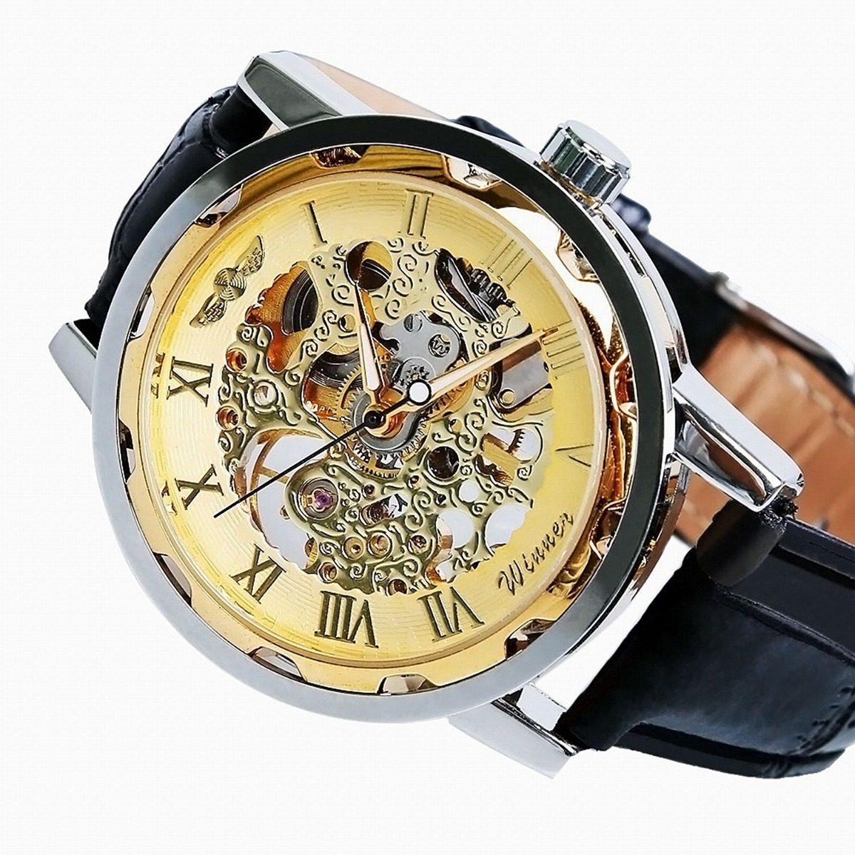 d40a21c94bb relógio masculino automático mecânico dourado pulseira couro. Carregando  zoom.