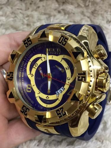 relogio masculino azul grande pesado pulseira de borracha